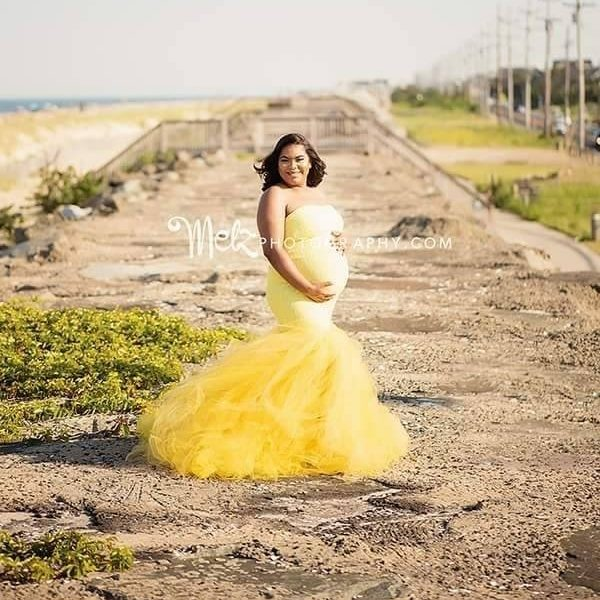 Melinda tulle maternity gown