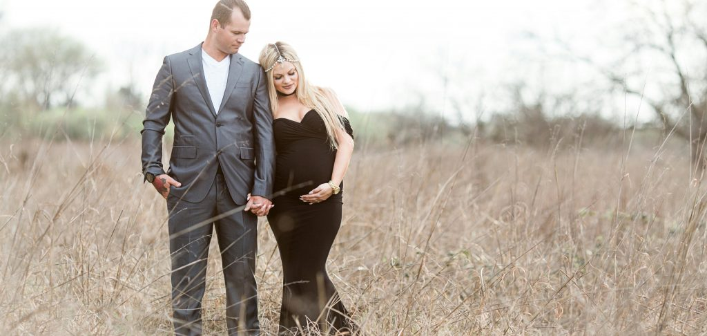 Fitted Jersey Knit Maternity gown, sweetheart, drop sleeves
