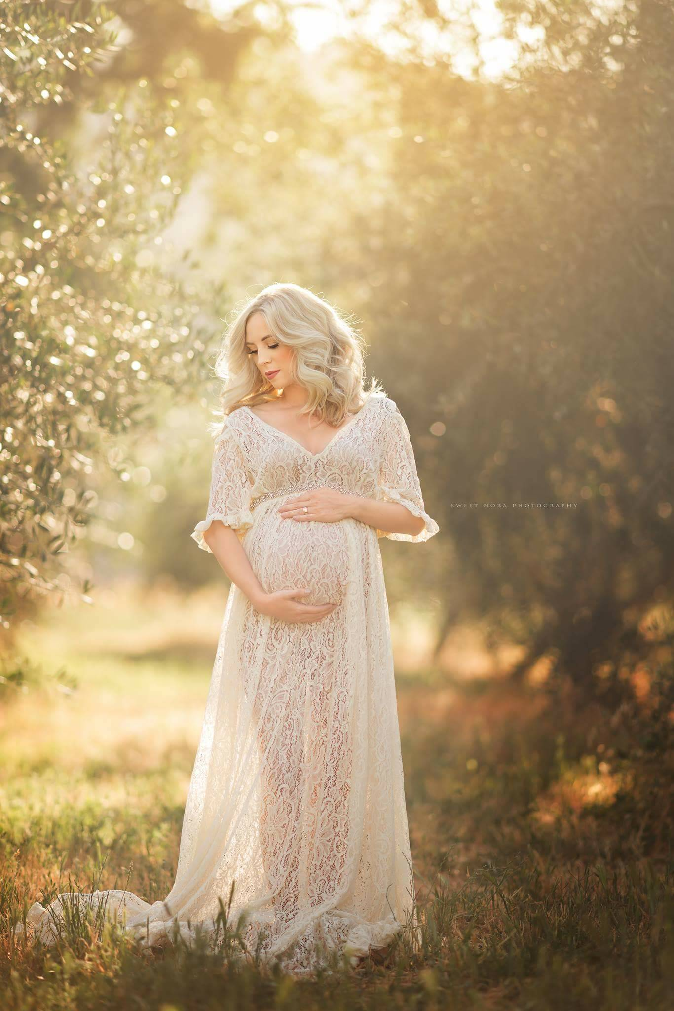 Kelley Lace Maternity Dress for photoshoot