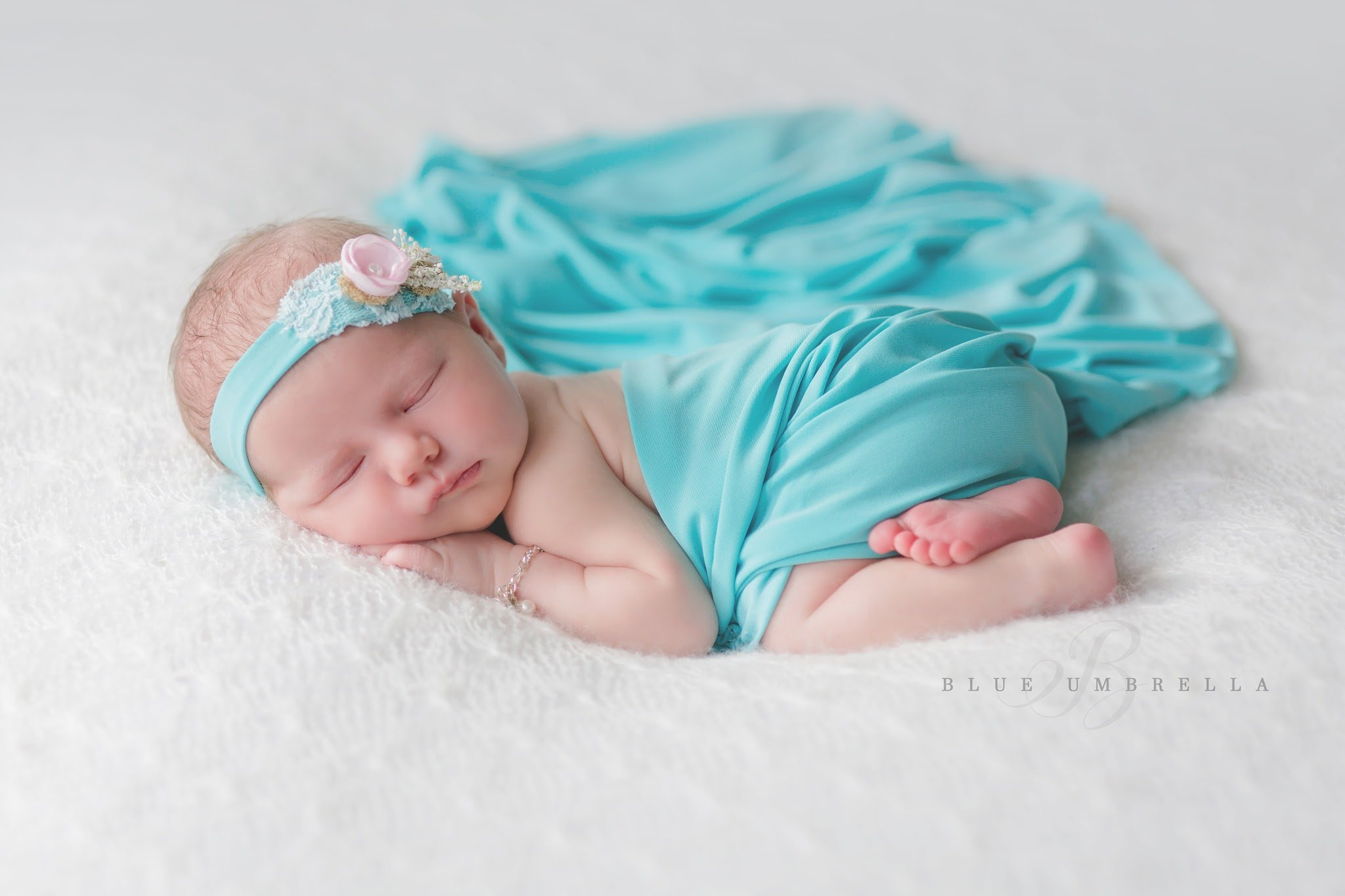 Newborn Wrap with Matching Floral Headband