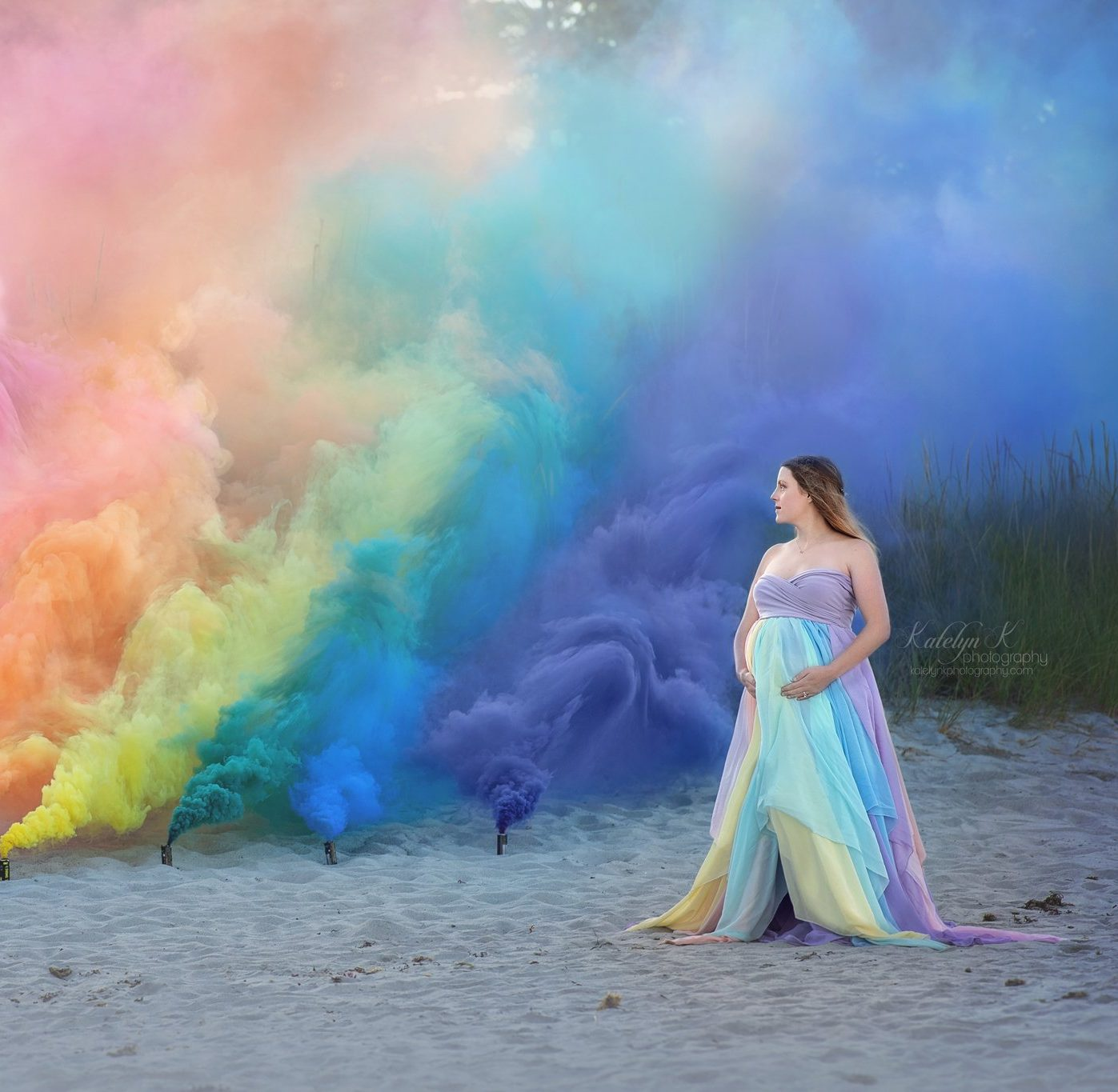 Jasmine Rainbow panel Maternity Gown for photography