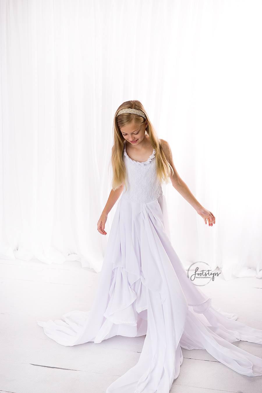 Alexa girls layered chiffon dress