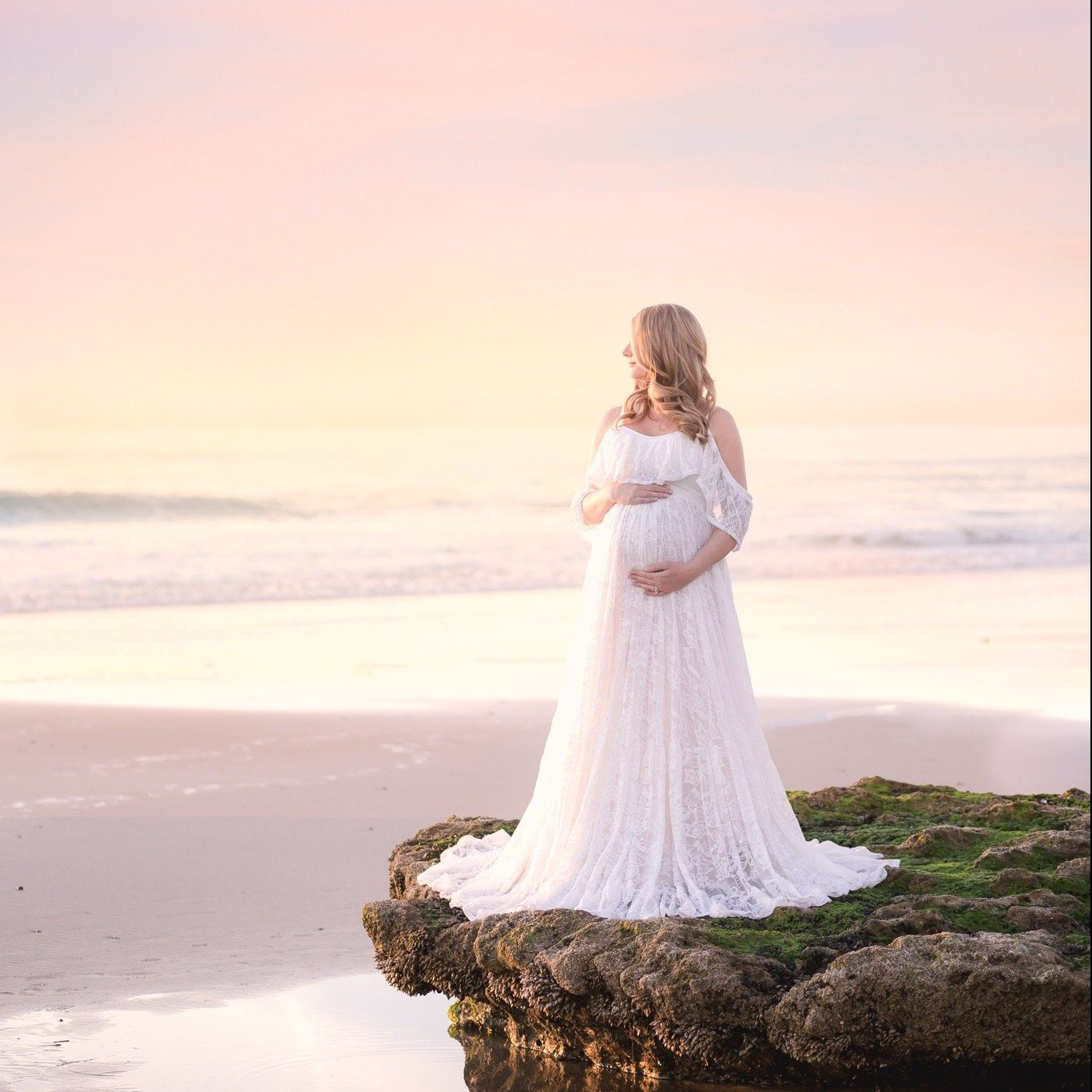 Nadia Boho Style Lace Maternity gown